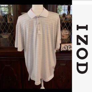 size L IZOD striped white gray collard shirt